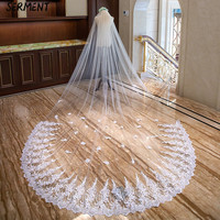 SERMENT New Sequined Lace Edge Veil One Layer 300cm Wide and 400cm Long Cathedral Veil Wedding Accessories