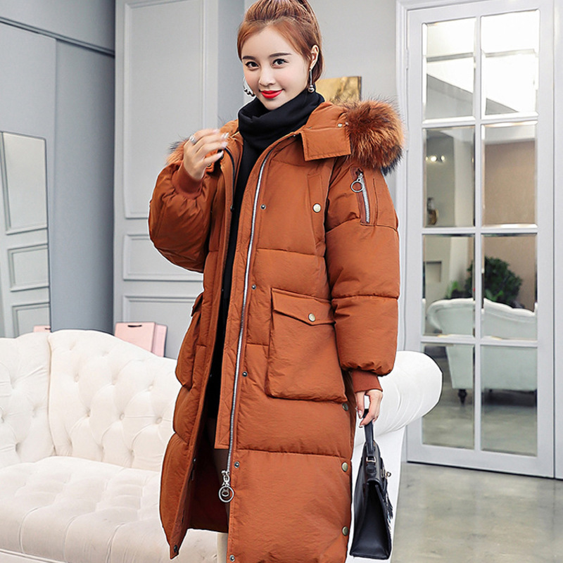 2019 Women Winter Jacket Woman   Parka   Female Overcoat Artificial Furry Hooded Warm Cotton Padded Jacket Outwear Plus Size