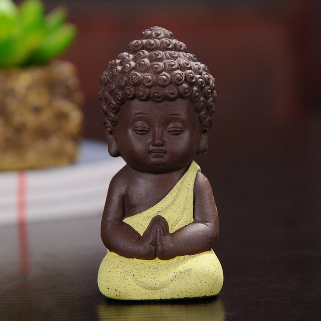 F Explosion Small Buddha Tea Pets Ceramic Crafts Decorative Home Ornaments Mini Figurines 4.9*9.5cm 5