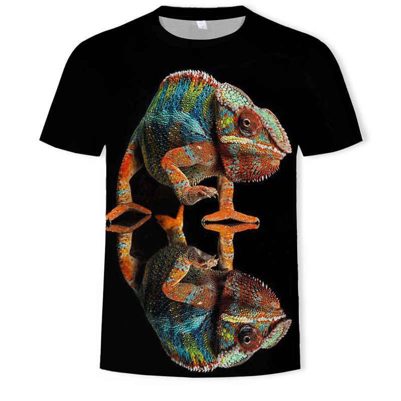 Fajny T-shirt mężczyźni/kobiety 3d Tshirt druku jaszczurka/żaba/tygrys/lew lato topy koszulki z krótkim rękawem moda T koszula moda odzież