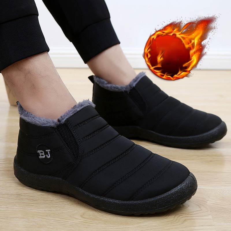 Winter Shoes Men Ankle Boots 2019 Warm Fur Slip-on Men Snow Boots Solid No-slip Winter Boots Men Shoes Zapatos De Hombre