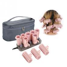 Juego de rodillos para el cabello de 205 3CM, 10 unidades, tubo eléctrico con rodillo calefactable, barras de estilismo rizado, herramientas de masaje, accesorios de rulos