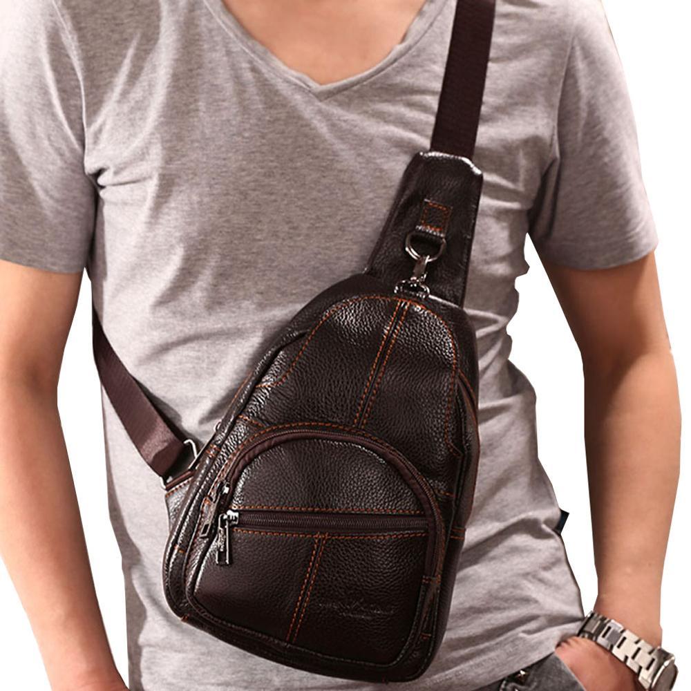 Mens Vintage Leather Sling Chest Bag Travel Backpack Crossbody Shoulder Day Pack