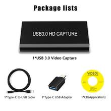 HDMI C tipi USB 3.0 60FPS VIDEO yakalama Dongle oyun canlı akışı yayın için 1080P Windows/linux/Mac UVC UAC