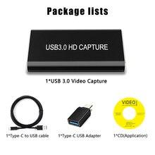 HDMI a tipo C, USB 3,0, 60FPS, captura de vídeo, Dongle, transmisión en vivo de juegos, 1080P para Windows/Linux/Mac para UVC UAC