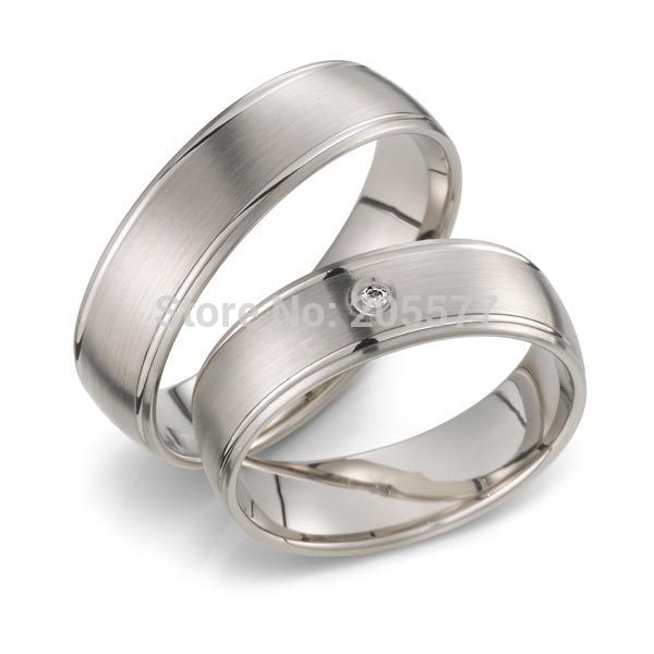 Simple plaine plaqué or blanc titane acier inoxydable hommes et femmes fiançailles bandes de mariage couples anneaux paire