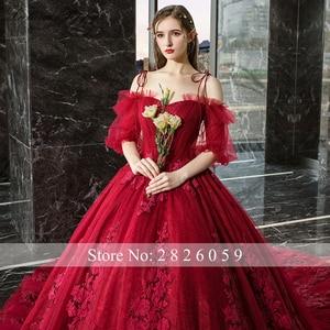 Image 5 - Vestido de Noiva frauen Ballkleid Rot Hochzeit Kleid 2020 Off Schulter Puff Ärmeln Kathedrale Zug Spitze Appliques Braut kleid