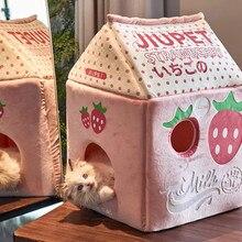 Leite de morango banana leite gato cama casa de gato