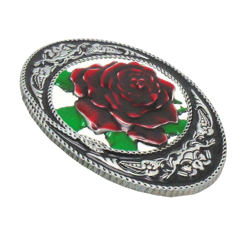 Big Red Rose Pattern Cowgirl Western Belt Buckle Woman's Gift