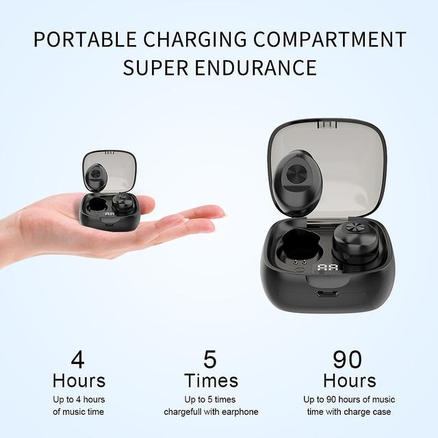 Bluetooth Earphone Wireless headphone Sport Earpiece Mini Headset Stereo Sound  In Ear IPX5 Waterproof tws 5.0   power display 2