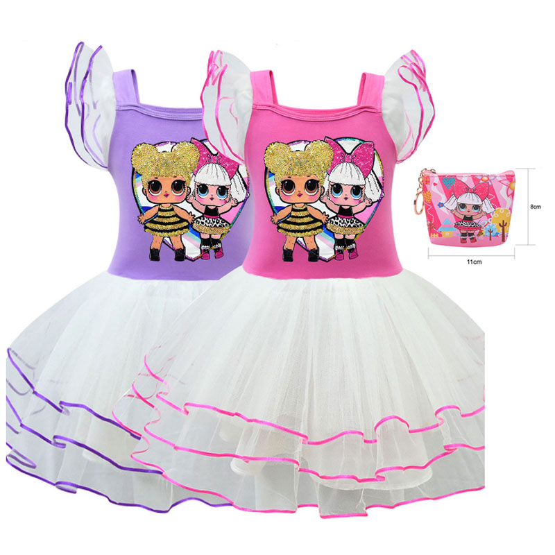 Explosion Models Cartoon Doll Haha LOl Dress Short-sleeved Mesh Ballet Skirt Cartoon Doll Pattern Cake Skirt + Bag