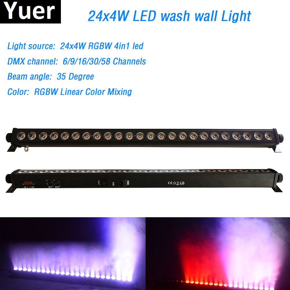 24x4W RGBW 4in1 Led Wall Wash Light Washer Beam Lighting DMX512 Indoor  Flood Down Lighting For Dj Disco Party Wedding Bar Stage