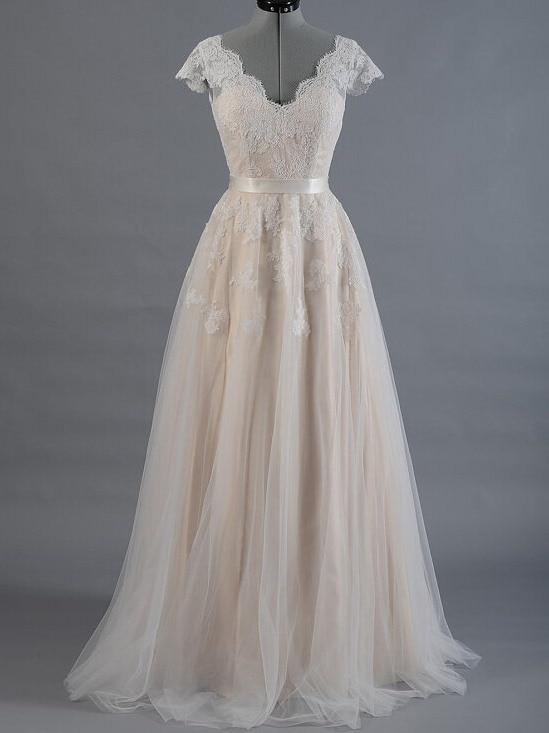 vestido de novia Champagne Line Lace A-line Wedding Dress 2020 Cap Sleeve V-back Appliques Bridal Gown Hot Sale