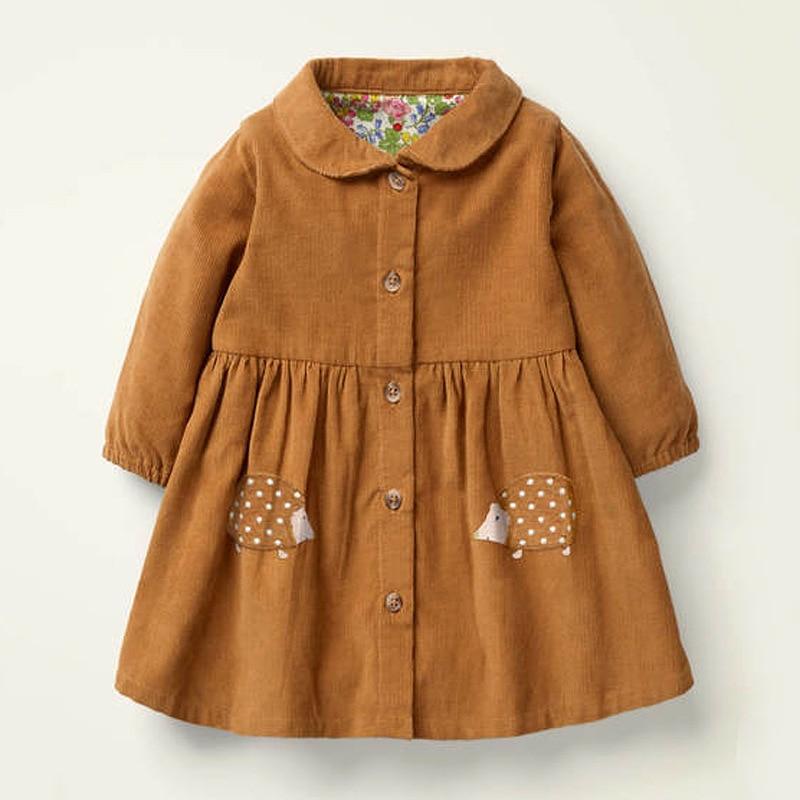 Little maven 2021 Autumn Baby Girls Clothes Brand Dress Animal Kids Corduroy Winter Dress Peter Pan Collar Dress With Button 1