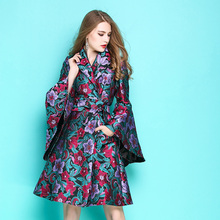Women Flower Embroidery Jacquard Skirt Trench Autumn Baroque Style Flare Sleeve