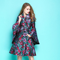 Women Flower Embroidery Jacquard Skirt Trench Autumn Baroque Style Flare Sleeve Belted Ball Gown Type Long Trench Coat Plus Size