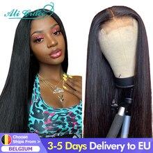 Ali Grace düz dantel kapatma peruk 4x4 kapatma peruk insan saçı peruk bebek saç ile brezilyalı 13x4 dantel ön İnsan saç peruk