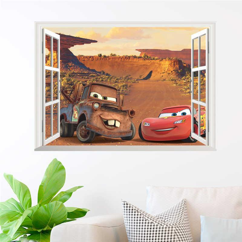 ثلاثية الأبعاد الكرتون ماكوين من خلال صور مطبوعة للحوائط ديكور المنزل غرفة المعيشة سيارات ديزني ملصقات جدار بولي كلوريد الفينيل جدارية الفن لتقوم بها بنفسك غرفة الاطفال الديكور