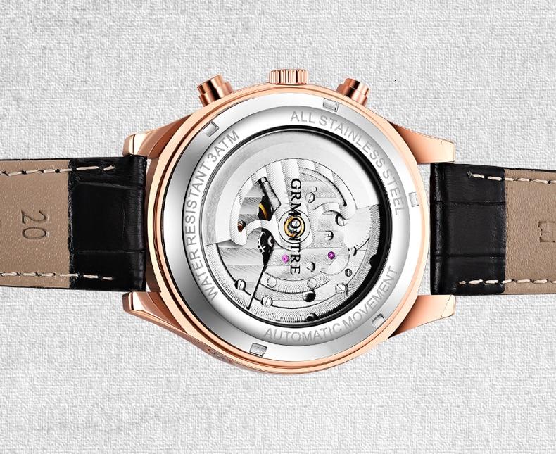 H125a99a08fb04e17ac47ff428cbbf9c1W Skeleton Tourbillon Mechanical Watch Men Automatic Classic Rose Gold Leather Mechanical Wrist Watches Reloj Hombre 2018 Luxury