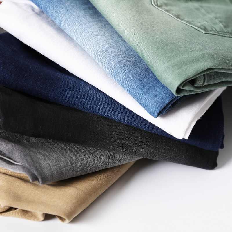 7 اللون الرجال تمتد نحيل الجينز موضة عادية سليم صالح سراويل جينز ذكر رمادي أسود كاكي أبيض السراويل الذكور ماركة