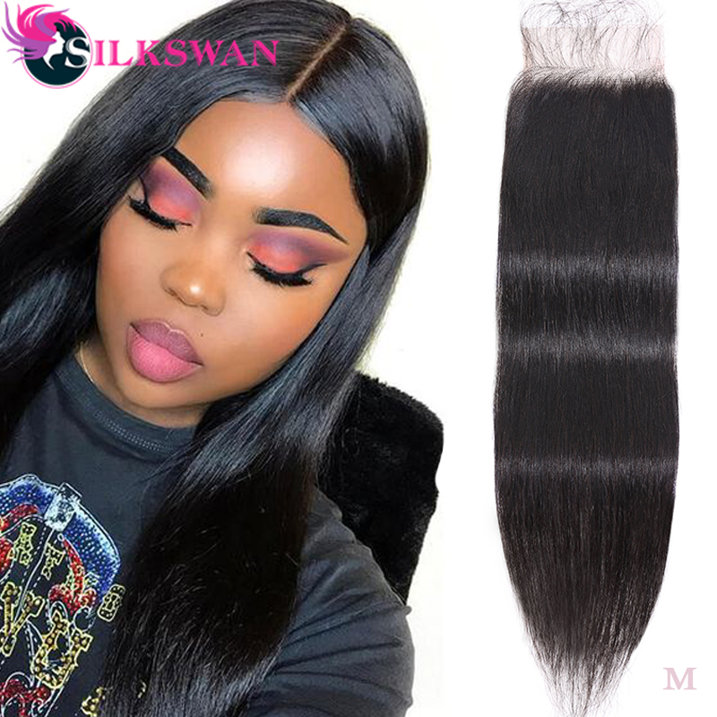 Silkswan Brazilian Straight Remy Hair 4*4 Lace Closure 10-20'' 28 Inch Lace Closure  Middle/Free Part  Free Shipping Brown Lace