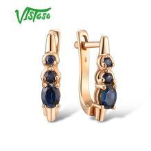 VISTOSO Gold Earrings For Women 14K 585 Rose Gold Sparkling Blue Sapphire Elegant Diamond Wedding Anniversary Fine Jewelry