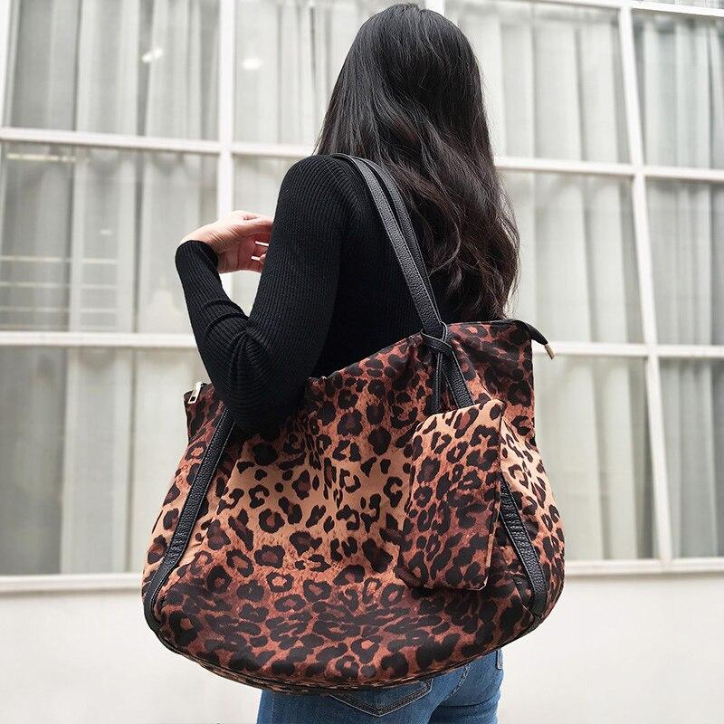 Bolsa de Ombro Compras com Bolso Mabula Moda Feminina Leopardo Grande Capacidade Trabalho Tote Bolsa Algodão Hangbag Viagem Pequeno
