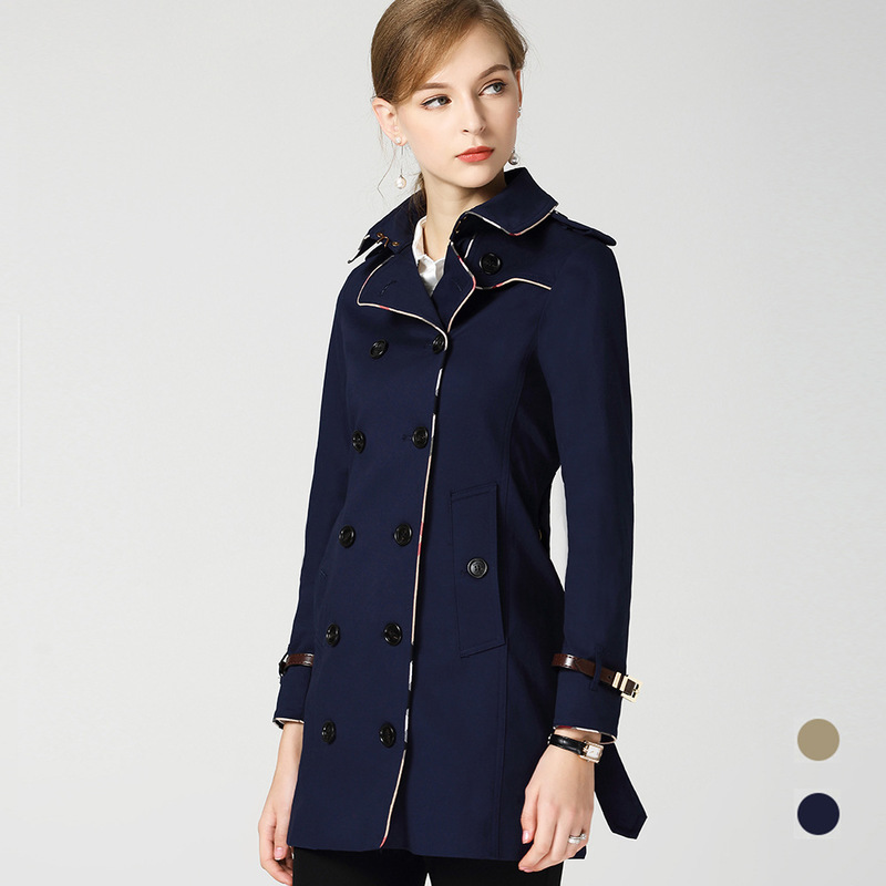 New autumn outfit lapel long sleeve double breasted cotton cultivate morality in long   trench   coat