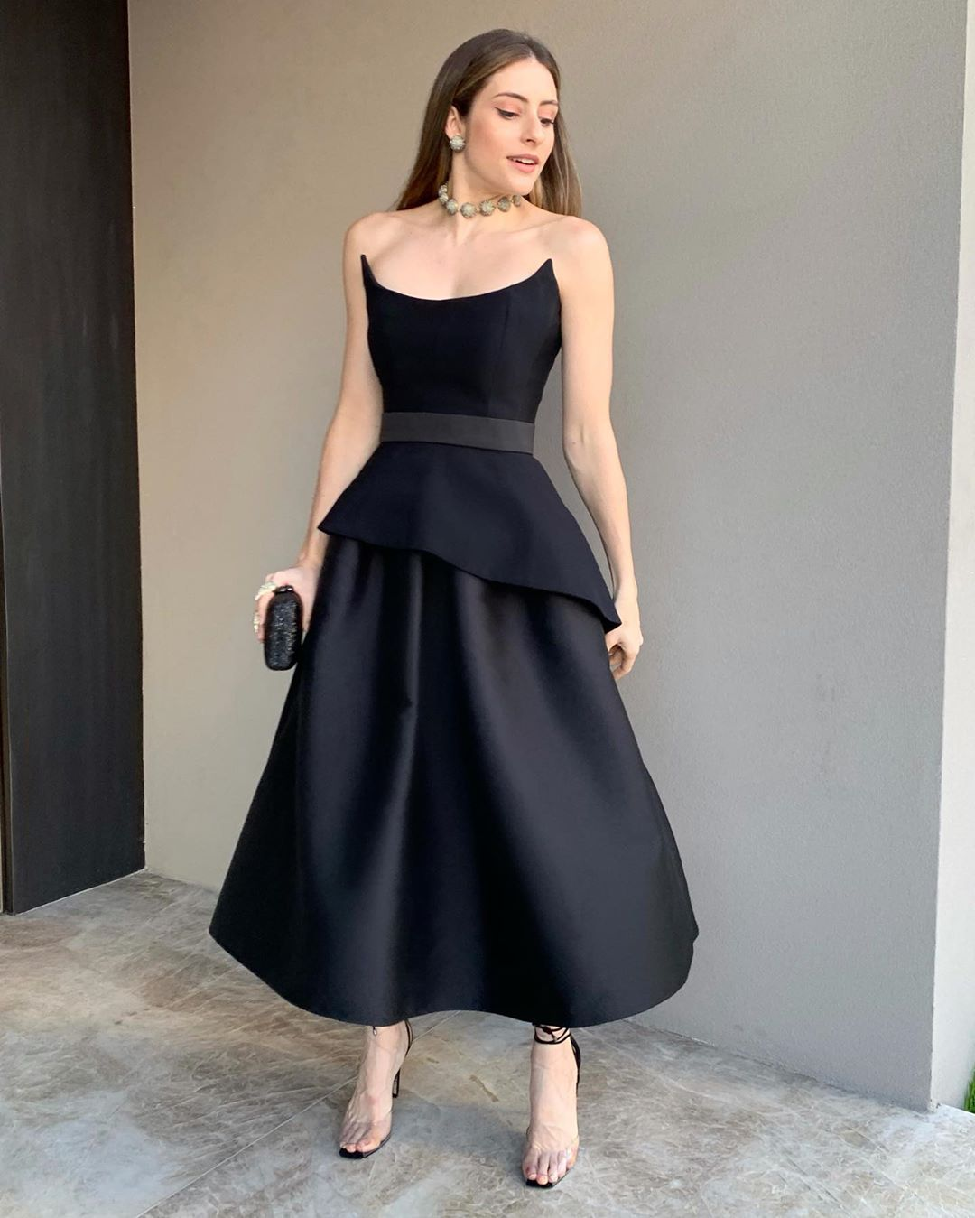 2020 Black Tea Length Cocktail Dress A Line Satin Tiered Plus Size Sexy Women Prom Dresses Long Boat Neck Formal Party Gowns