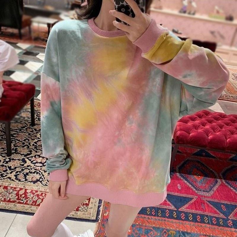 Women Autumn Fashion Tye Dye Shirt Colorful Hoodies Pullover Sweatshirts Tops Loose Comfortable Long-sleeve Shirts Newest 3
