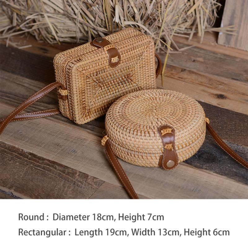 Fashion Mini Straw Travel Bag for Women 2021 with Leather Shoulder Strap