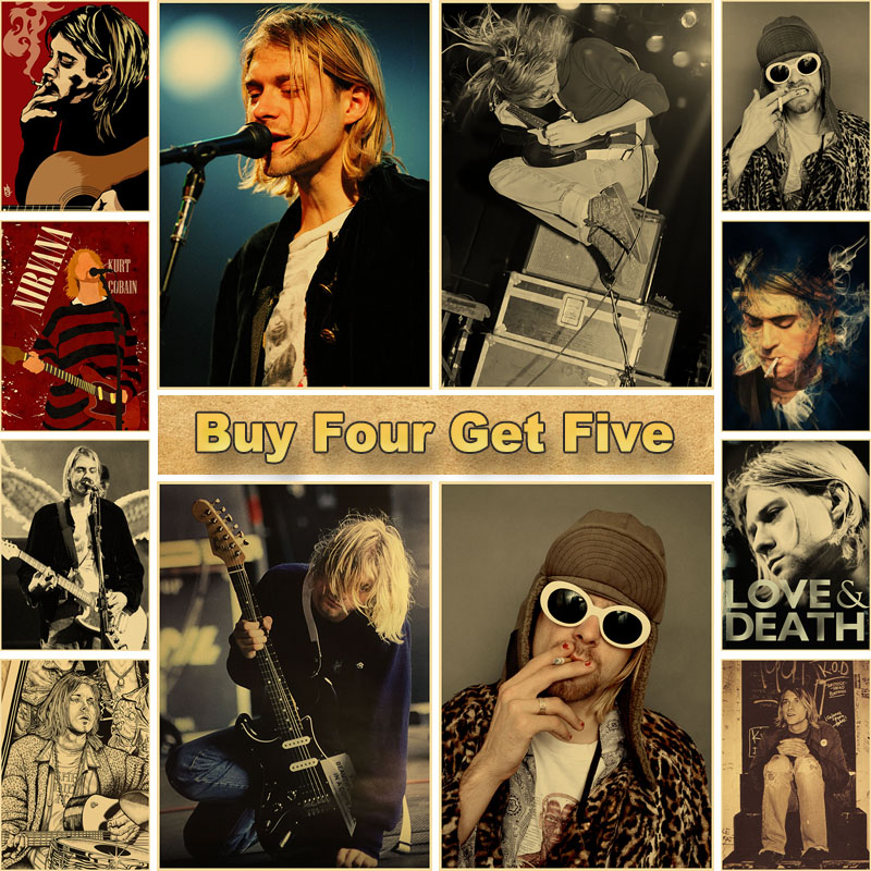 Vintage Nirvana Band Poster Rock Singer Kurt Cobain Kraft Paper Posters Room Bar Cafe Decoration Painting Home Wall Art Picture