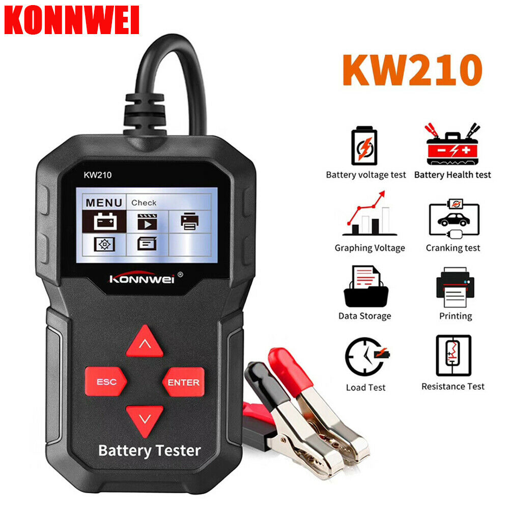 Car Battery Tester 12V 100 to 2000CCA Auto Battery Analyzer Quick Cranking Charging Circut Load Tester Multi-languages