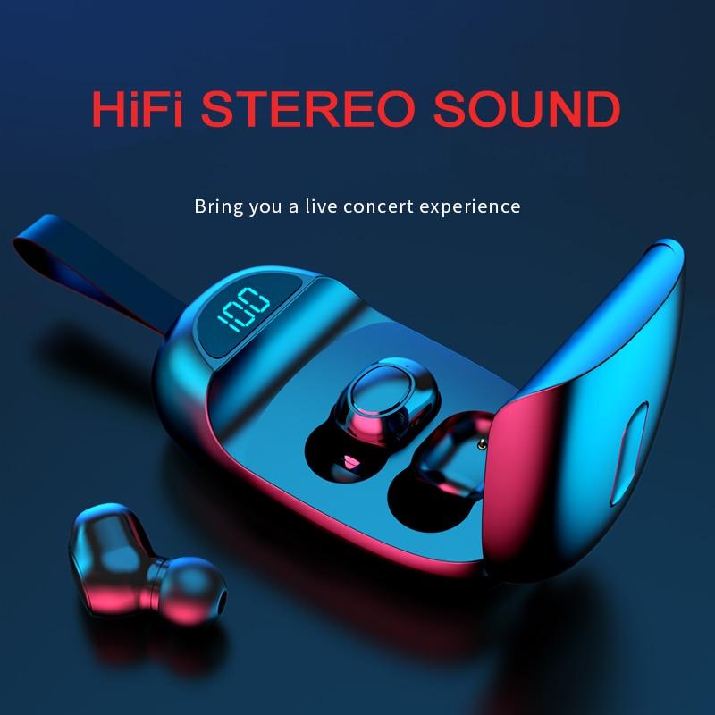 TWS Mini Earphones Stereo HiFi True Wireless Bluetooth Headphones In-Ear Earbud Headsets Waterproof Handsfree for Mobile Phone