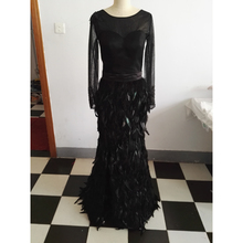 Gorgeous Feathers Evening Dress Sheer Long Sleeves Real Pictures Side Split Stunning Prom Dress Floral Applique with Beaded buttoned split back sheer floral lace dress