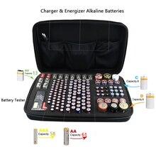 Estuche de almacenamiento de batería EVA portátil, resistente a golpes, organizador de contenedores, soporte para probador, sostiene 146 baterías AA, AAA, C, D, 9V
