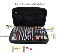 Portable Hard EVA Shockproof Battery Storage Case Organizer Containers Holder for Tester   Holds 146 Batteries AA AAA C D 9V box
