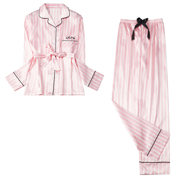 Women's Rayon Silk Pajamas Sexy Stripe Sleepwear Set Women  Pajama 2Piece/Suit Top Long Sleeve Belt Shirt Pant Big Homewear - discount item  30% OFF Women's Sleep & Lounge