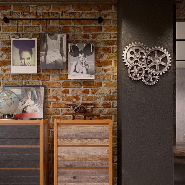 Kreatywny retro starym stylu industrialnym dekoracyjne ozdoby drewniane okrągłe biegów bar ściany pokoju ozdoba na ścianę domu dekoracje
