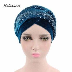 Image 4 - ผู้หญิงยาวพิเศษVelvet Turban Headbandแฟชั่นหรูหราRhinestone Head Wraps Hijabผ้าพันคอมุสลิมสไตล์ผมอุปกรณ์เสริม