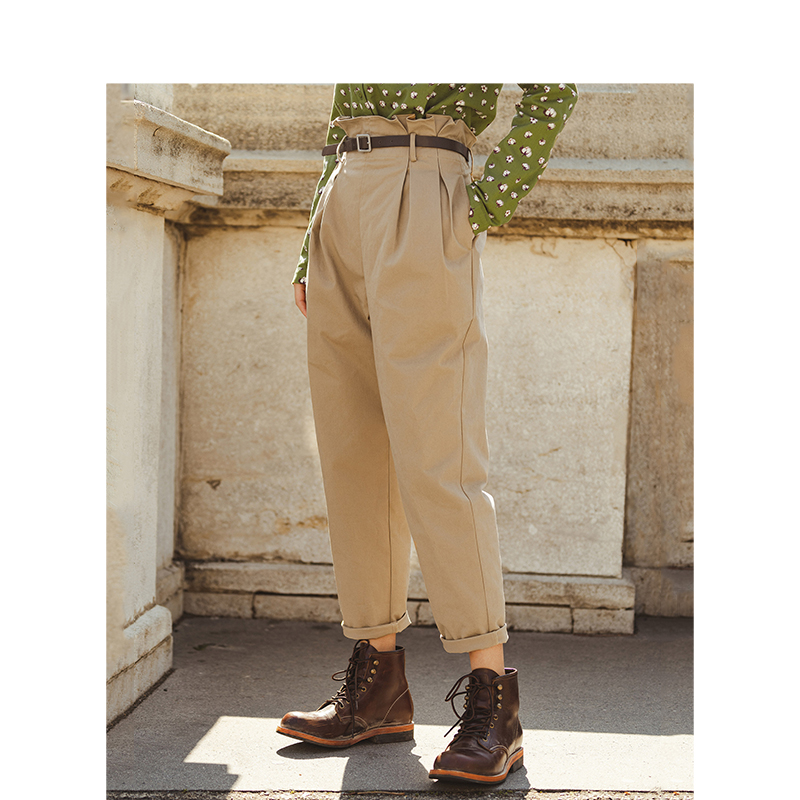INMAN 2020 Autumn New Arrival Solid Color Elastic Mid High Waist Small Leg Fit All Match Female Causal Pants Capris