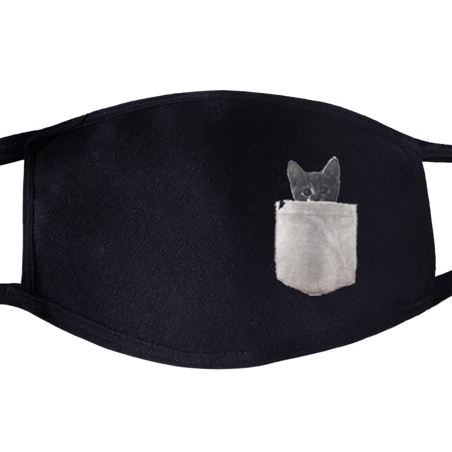 Kawaii Cat Animal Cute Mysterious Dustproof Mouth Face Masks Unisex Black Cycling Anti-Dust Facial Protective Cover Mask