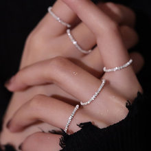 New Arrived 925 Sterling Silver Sparkling Ring Simple Style Versatile Decorative Compact Index Finger Ring Women Fashion Jewelry