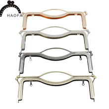Купить с кэшбэком HAOFA 27CM Embossing Metal Purse Frame Big Size Clutch Bag Frame Square Handle Lips Kiss Clasp Accessories for Bags Sewing Frame