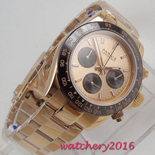 new arrive 39mm PARNIS Gold dial quartz mens watch Rose Gold solid case full Chronograph