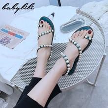 Flat Sandals for Women 2020 Summer Luxury Pearl Slippers Ladies Beach Black Slid