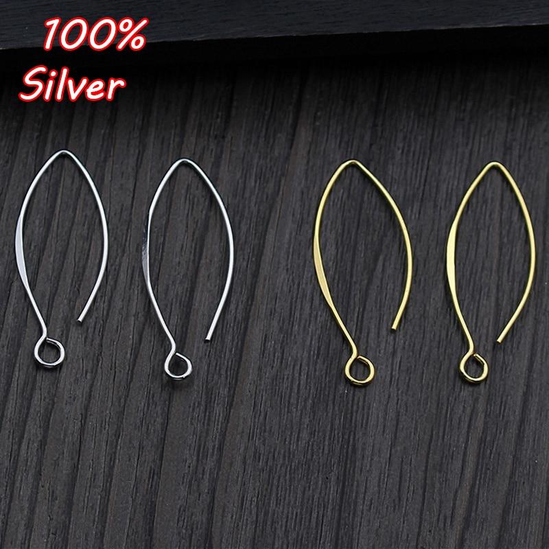 1Pair 925 Sterling Silver Color DIY Ear Hook Fittings Making For Jewelry Hook Earrings Accessories Supplies Wholesale
