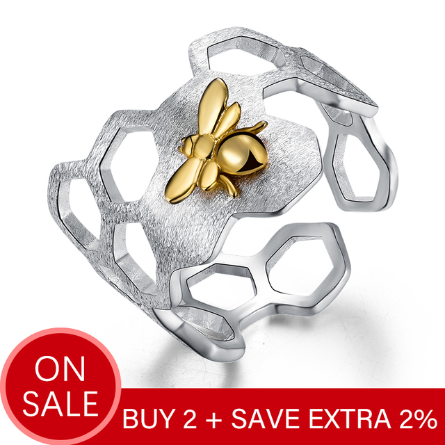 Lotus Fun Real 925 Sterling Silver 18K Gold Bee Rings Natural Designer Fine Jewelry Home Guard Honeycomb Open Ring for Women 1