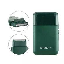 Elektrikli tıraş makinesi erkekler USB şarj edilebilir 2 kesici kafa pistonlu jilet taşınabilir süper ince sakal kesici siyah yeşil renk