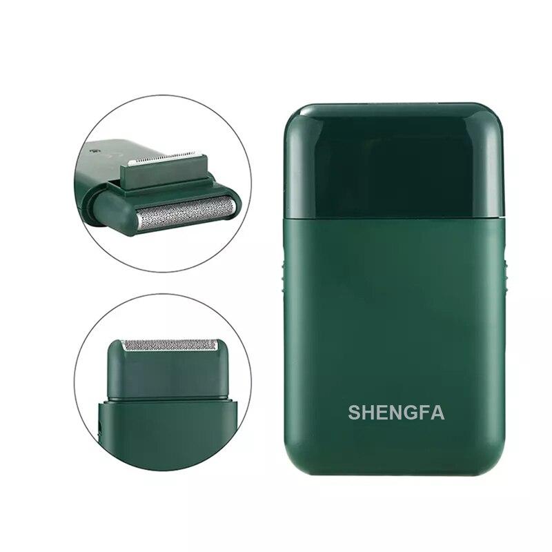 Elektrikli tıraş makinesi erkekler USB şarj edilebilir 2 kesici kafa pistonlu jilet taşınabilir süper ince sakal kesici siyah yeşil renk|Elektrikli Traş Makineleri|   -